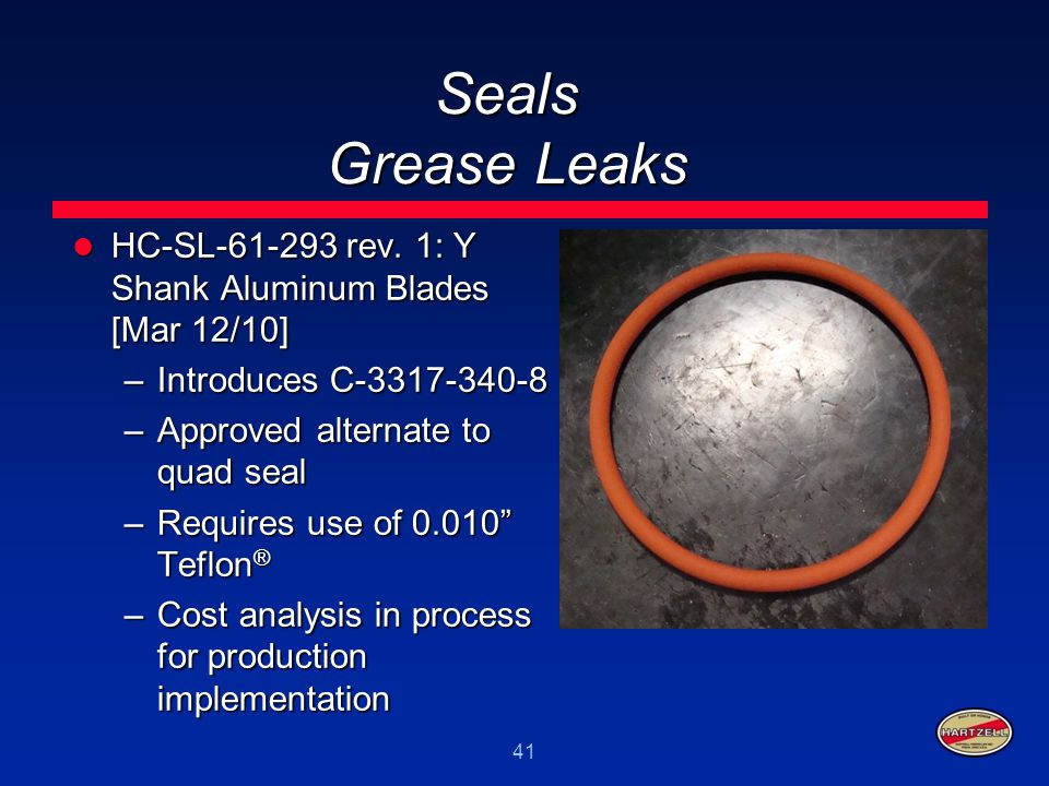 Seals Grease Leaks HC-SL-61-293 rev. 1: Y Shank Aluminum Blades [Mar 12/10] Introduces C-3317-340-8.
